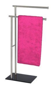 Handtuchhalter ohne Bohren - WENKO 20390100 Handtuchständer Lima mit 2 Armen