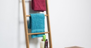 Handtuchhalter ohne Bohren - Kleiderleiter Eiche geölt