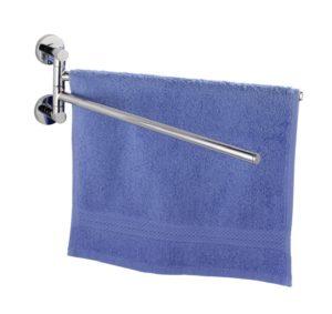 Handtuchhalter chrom glänzend - WENKO 17814100 Power-Loc Handtuchhalter mit 2 Armen Elegance - Befestigen ohne bohren