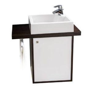 Waschbecken mit Handtuchhalter - Quentis Waschplatz Fiesta 65, 3-teilig, 65 cm Breite, Front weiß glänzend