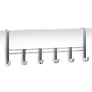 Handtuchhalter Tür von Zeller 13897 Türhängeleiste, 6 Haken, Metall verchromt, L 51 x B 20 x 10 cm